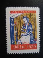 ICELAND 1959 Coudre Sew Piqueur Stitcher Fileur Filage Sewing Machine Fashion Mode Moda Poster Stamp Vignette Label - Textile