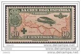 ES345-LA884TGESC.España .Spain. Espagne.1ª CRUZ ROJA EPAÑOLA AEREA.1926 (Ed 345**). Sin Charnela.LUJO - Geologia