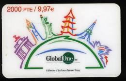Télécarte PORTUGAL Tour Eiffel Global One Groupe France Telecom Phonecard Liberty Statue - Portugal