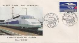 FRANCE 1989  TGV Atlantique - YT 2607 Oblit 1er Jour Nantes 23-09-89 - FDC
