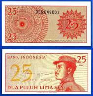 Indonesie Lot 10 X 25 Sen 1964 Neuf Indonesia Uncirculated Militaire Military UNC Non Circulé Skrill Paypal OK - Indonesia