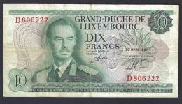 LUSSEMBURGO (LUXEMBOURG) : 10 Francs - 1967 -VF (SN : D806222) - Luxembourg