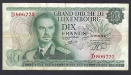 LUSSEMBURGO (LUXEMBOURG) : 10 Francs - 1967 -VF (SN : D806222) - Lussemburgo