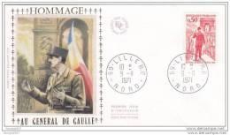 FDC: HOMMAGE AU  GENERAL DE GAULLE- - LILLE 1971- Cote 12€ - De Gaulle (General)