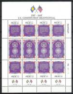 Mrx094b VLAG U.S. CONSTITUTION BICENTENNIAL FLAG ** SHEETS KLEINBOGEN ** PALAU 1987 PF/MNH - Palau