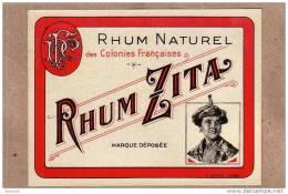 ETIQUETTE - RHUM NATUREL DES COLONIES FRANCAISES - RHUM ZITA - 122 X 92 Mm - Rhum