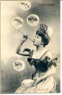 Bergeret - Jeune Femme, Chalumeau à Bulles De Savon, Bonne Année 1905 - Bergeret