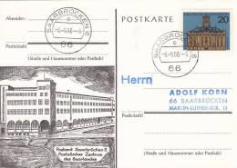 Poststempel 6.6.66, Saarbrücken 6 PLZ 66, 6 Uhr, Auf BRD 427 Saarbrücken, Schnapszahl, AK: Postamt Saarbrücken 2 - [7] Federal Republic