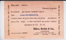 1913 - CHILI - CARTE ENTIER POSTAL Avec RARE REPIQUAGE PRIVE De VALPARAISO - Chili