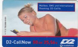 GERMANY - Girl On Phone, D2 Prepaid Card 50 DM/25.56 Euro, Exp.date 05/03, Used