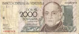 BILLETE DE VENEZUELA DE 2000 BOLIVARES DEL AÑO 1998 (BANKNOTE) - Venezuela