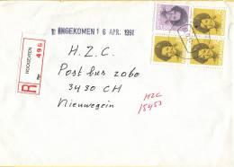Nederland - Aangetekend/Recommandé Brief Vertrek Hoogeveen - Aantekenstrookje 496 - Poststempel