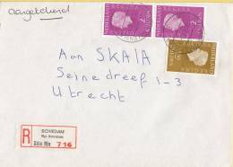 Nederland - Aangetekend/Recommandé Brief Vertrek Schiedam-Mgr. Nolenslaan - Aantekenstrookje 716 - Poststempel