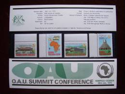 KUT 1975 O.A.U. SUMMIT CONFERENCE, KAMPALA Issue 4 Values To 3/- MNH With PRESENTATION CARD. - Kenya, Uganda & Tanganyika
