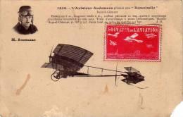 L'aviateur AUDEMARS Pilotant Une Demoiselle Avec Timbre  Souvenir De L'aviation - Aviateurs