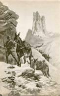 Fotografia Primi ´900  Di Un Quadro Rappresentante Una Colonna Di Alpini Con I Muli Sulle Cime Innevate- Originale . - Documenti