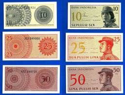 Indonesie Lot 10 Sen 25 Sen 50 Sen 1964 Neuf UNC Indonesia Volontaire Skrill Paypal OK - Indonesia