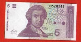 CROATIA HRVATSKA 5  Dinar  HRDA  1991 .g. - UNC - Bankbiljetten