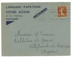 """VEND ENVELOPPE """" HENRI ADAM """" , POITIERS , 1936 !!!! - Imprimerie & Papeterie"""