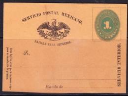 R)1886 UNUSED WRAPPER NUMERAL 1 CTVO. SEVICIO INTERIOR EAGLE MEXICO. - Mexico