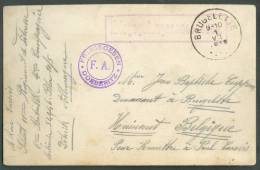 CV En SM Obl; Sc BRUGELETTE 1-VII-1916 + Griffe Rouge Kriegsgefangenensendung + Dc Violet Freigegeben DOEBERITZ/F.A. Pou - Other Covers