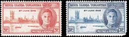 Kenya Uganda & Tanganyka Scott # 90-91, Set Of 2 (1946) Peace Issue, Mint Never Hinged - Kenya, Uganda & Tanganyika