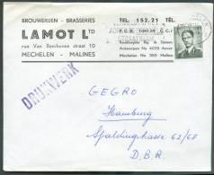 BEER BIERE - Belgique 1Fr;50 Marchand Obl. Mécanique De MECHELEN S/L. Du 7-VI-1966 Vers Hambougr  - En-tête BROUWERIJEN - Bières