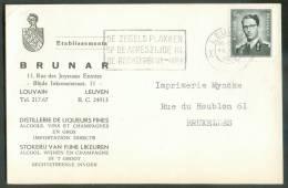 ALCOOL VIN - Belgique 1Fr;50 Marchand Obl. Mécanique De LEUVEN S/Carte (tarif Imprimé) Du 20-VI-1964 Vers Bruxelles  - E - Vins & Alcools