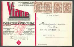 ALCOOL VIN - Belgique 50 Cent. Lions (x4) Obl. Mécanique De GENT S/Carte Du 5-8-1954 Vers Bruxelles  - En-tête VIANE - V - Vins & Alcools