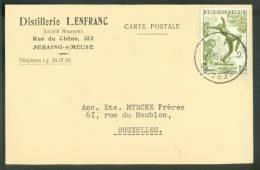 ALCOOL RHUM - Belgique 1Fr.70  Obl. Sc De SERAING S/Carte Du 4-11-1955 Vers Bruxelles  - En-tête Distillerie LEFRANC  - - Vins & Alcools