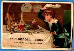 CHROMO - CHAUSSURES ROPOLL à ANVERS - ENFANT CHASSE LE CHAT VOLEUR - Chromos