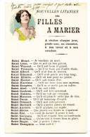 Illustration Jeune Femme Priant - Nouvelles Litanies Des Filles à Marier - Ecrite En 1925 - Belle Calligraphie - Etat*** - Tarjetas De Fantasía