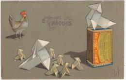 Joyeuses Pâques - Poule - Cocottes En Papier - Carte Gaufrée - 1908 - Envoyée à Bruxelles - Illustrateurs & Photographes