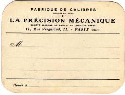 Ced , Carte De Visite , La Precision Mecanique , 11 Rue Vergniaud , Paris , 16 X 12 Cm , Frais Fr : 1.55€ , Cee 1.80 - Cartes De Visite
