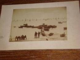 RARE PHOTO ORIGINALE 1892 GRANDCAMP Calvados (barques Peches Animee) - France