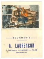 Brioude (43 Haute-Loire) Boucherie A. Laurençon - Calendrier Décoré -année 1957 - (6 X 9 Cm) Tb (voir 2 Scans) - Calendars