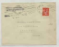 1942 - ENVELOPPE DE L'HOTEL MAGENIA à VICHY (ALLIER) - IRIS - France