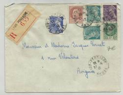1942 - ENVELOPPE RECOMMANDEE DE LYON PERRACHE - MERCURE - PETAIN - France