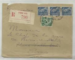 1938 - ENVELOPPE RECOMMANDEE DE PARIS - IRIS - MERCURE - France