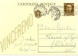 """LANV5 - ITALIE EP CP IMPERIALE 30c """"VINCEREMO"""" 2 FORMATS - CURIOSITE - 1900-44 Victor Emmanuel III"""