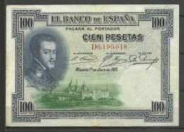 ESPAÑA- BILLETE DE 100 Pts.DEL  AÑO 1925 EN BUEN ESTADO DE CONSERVACIÓN - Sin Clasificación