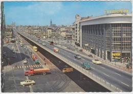 Brussels - The Viaduct; 'CITROËN' Building, VW KARMANN GHIA, FORD ZEPHYR & TAUNUS 15M, VW T1-BUS, TRUCK,TRAM/STRAßENBAHN - Turismo