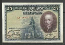 ESPAÑA- BILLETE DE 25 Pts.DEL  AÑO 1928 EN BUEN ESTADO DE CONSERVACIÓN. - [ 3] 1936-1975 : Régimen De Franco