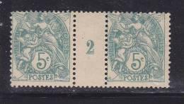 FRANCE TYPE BLANC N° 111c  5C VERT BLEU MILLESIME 102 NEUF AVEC CHARNIERE - Unused Stamps