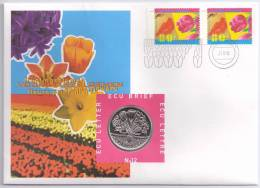 Netherlands 1996 Mi. 1567 FDC With ECU Coin, Spring Flowers, Tulip, Lady's Face - Plants