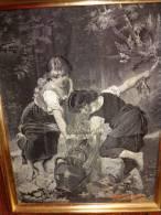 Gravure Soie - Ancienne - D'apres E. Munier-19x24.5cm-fillette Cruche.- - Art Populaire