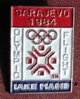 OLYMPIC GAMES - SARAJEVO `84 - LAKE PLACID, Olympic Flight - Badge / Pin - Olympic Games
