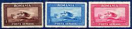 ROMANIA 1928 Airmail Set With Vertical Watermark, Hinged Mint.  Michel 336-38X - Airmail