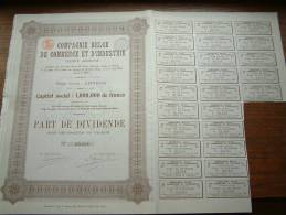 CIE BELGE DE COMMERCE & D'INDUSTRIE N° 03058 ( Voir Photo Pour Detail )! - A - C