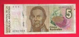 ARGENTINA 1985,   Banknote,  Used VG. . 5 Australes,  KM Nr. 324 (small Hole) - Argentinië